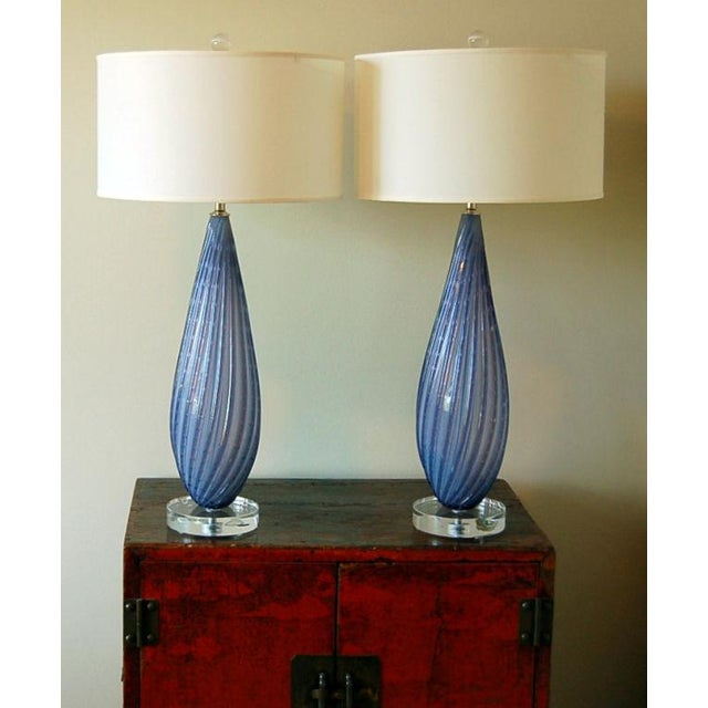 Murano Vintage Murano Opaline Glass Table Lamps Lavender For Sale - Image 4 of 9