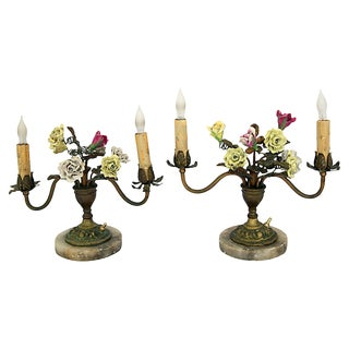 Bronze Leaf & Flowers Table Candelabras - a Pair For Sale
