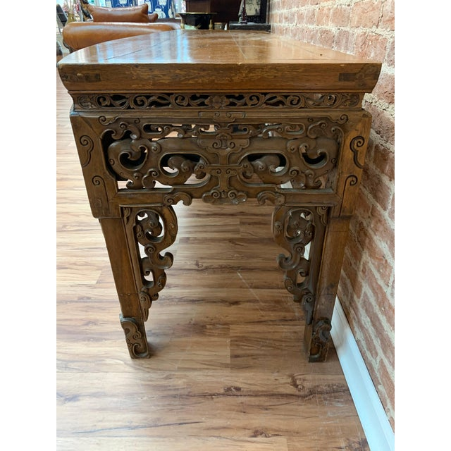Chinese Antique Chinese Carved Writing Desk For Sale - Image 3 of 9