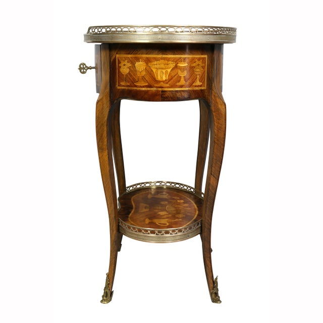 Louis XVI Style Marquetry Table A' Ecrire For Sale - Image 10 of 13