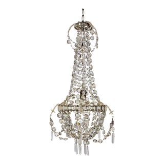 Delicate Crystal & Wire French Regency Tent Chandelier For Sale
