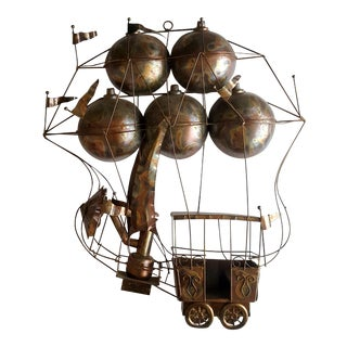 Vintage 1970s C. Jere Copper Hot Air Balloon Sculptural Wall Art