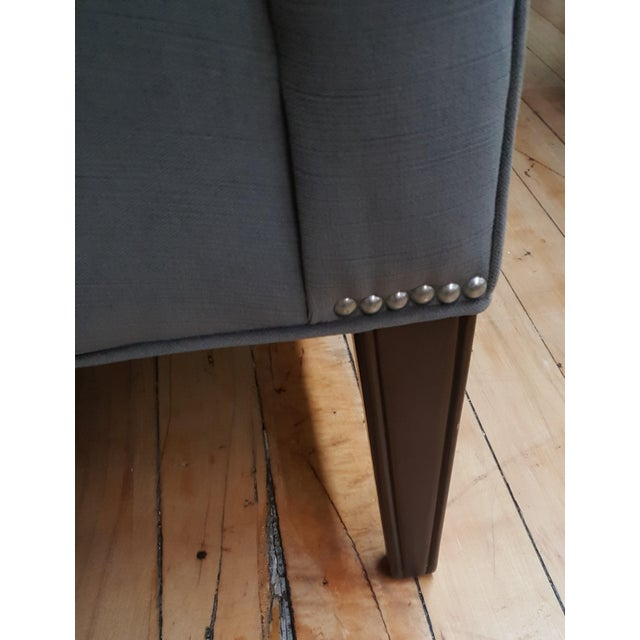 Textile Contemporary Wesley Hall Tufted Club Chair For Sale - Image 7 of 10