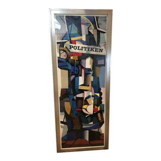 Striking Large Vintage Danish Abstract Poster by Ib Andersen For Sale