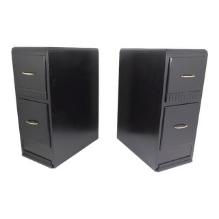 1930s Art Deco Satin Black Nightstands - a Pair For Sale
