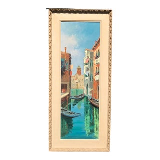 Mid 20th Century Italian Venice Landscape Oil Painting on Canvas by Marco Foscarini For Sale