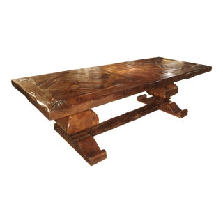 Large French Oak Dining Table With Parquet Top and Fleur De Lys Corners For Sale