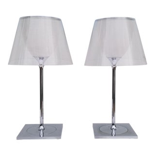 1980s Philippe Starck Italian Flos Chrome Table Lamps - a Pair For Sale