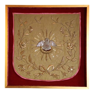Framed Gold & Silver Embroidery For Sale
