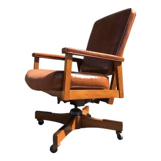 Mid-Century Modern Gunlocke Style Walnut Executive Desk Chair by Indiana Chair Co. For Sale