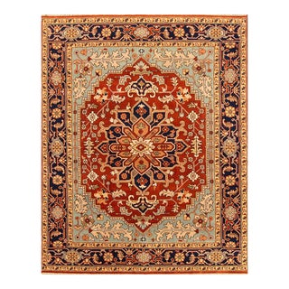 Apadana - Contemporary Red and Blue Indian Tabriz-Style Rug, 8' x 10'1""