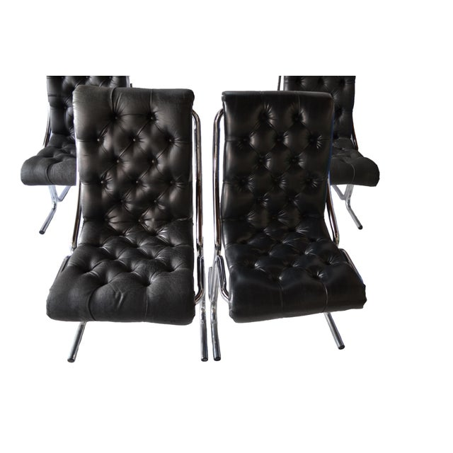 1970s Tufted & Chrome Dining Chairs - Set of 4 - Image 4 of 4