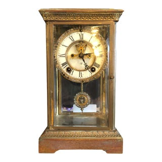 Crystal Face and Pendulum Clock Made by Ansonia Clock of New York For Sale