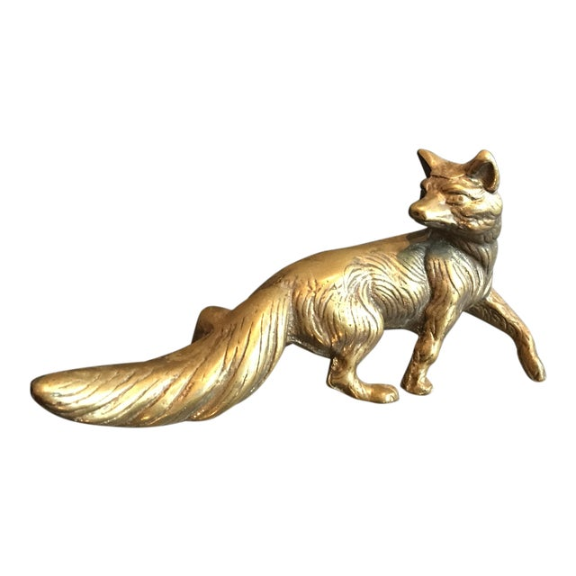 Solid Brass Fox Sculpture For Sale