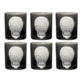 Image of Skull Double Old Fashioned Glasses Black - Set of 6 For Sale