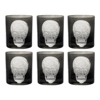 Skull Double Old Fashioned Glasses Black - Set of 6 For Sale