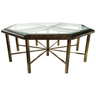 Monumental Burl Elm and Brass Eight-Sided Dining Table by Mastercraft For Sale