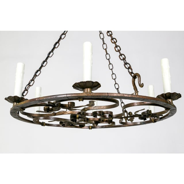 Hand Wrought Flat Leaf and Scroll Chandelier - Image 7 of 9