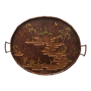Red Chinoiserie Faux Bamboo Tole Tray