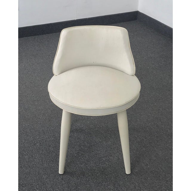 Vintage Mid Century Modern Tapered Legs Vanity Chair For Sale In Miami - Image 6 of 13