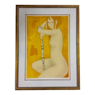 "1978 Vintage French Alain Bonnefoit ""Genevieve"" Lithograph Print For Sale"