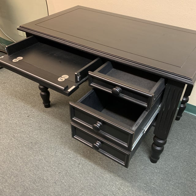 Traditional Ballard Designs Traditional 3 Drawer Writing Desk For Sale - Image 3 of 12