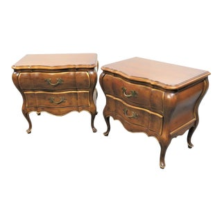 Louis XV Cherry Bombay Nightstands - a Pair