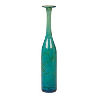 1970s Turquoise Mdina Malta Hand Blown Slender Glass Bottle For Sale