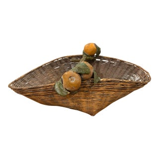 Antique Handwoven Basket With Oranges and Green Leaved Handle For Sale