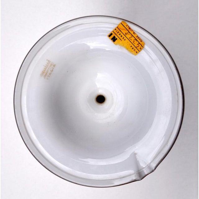 White Lattimo Venini table lamp with acid stamp to bottom Venini Murano Italy, partial paper sticker attach. The lamp...