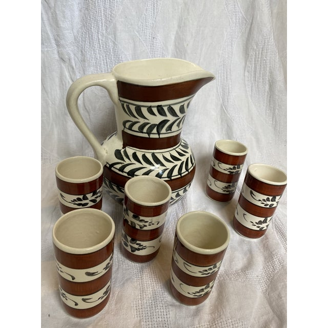 """Vintage hand painted sangria set. Pitcher with 6 ceramic cups. 6 Cups - 5"""" high, 2.5 diameter"""