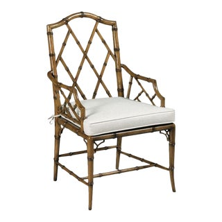Modern Faux Bamboo Arm Chair For Sale