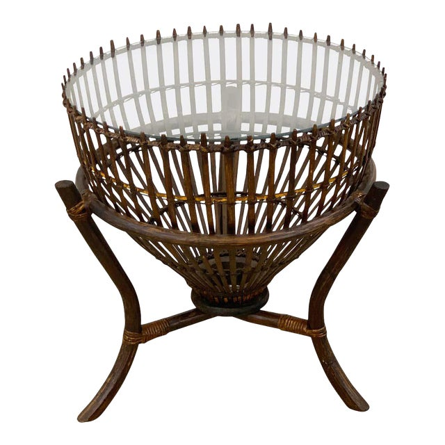 Franco Albini Style Fish Trap Rattan and Glass Side Table, Restored For Sale