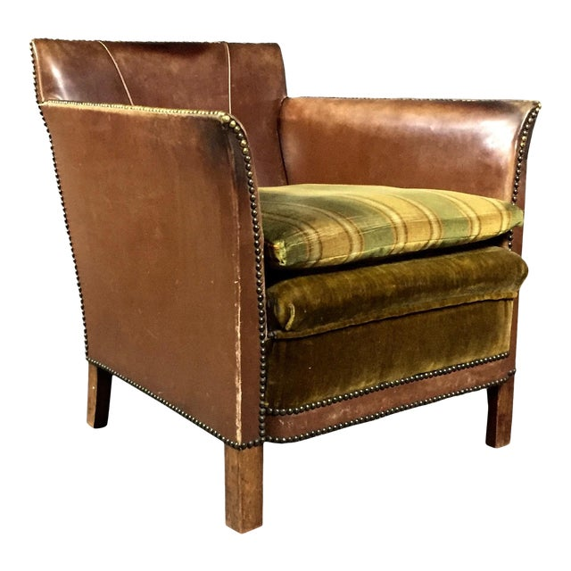 1940s Swedish Square-Back Leather Club Chair For Sale