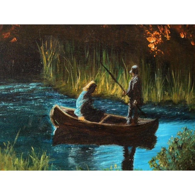 Idyllic outdoor landscape vintage oil painting on canvas of a quiet natural wooded stream fishing scene with a canoe and...