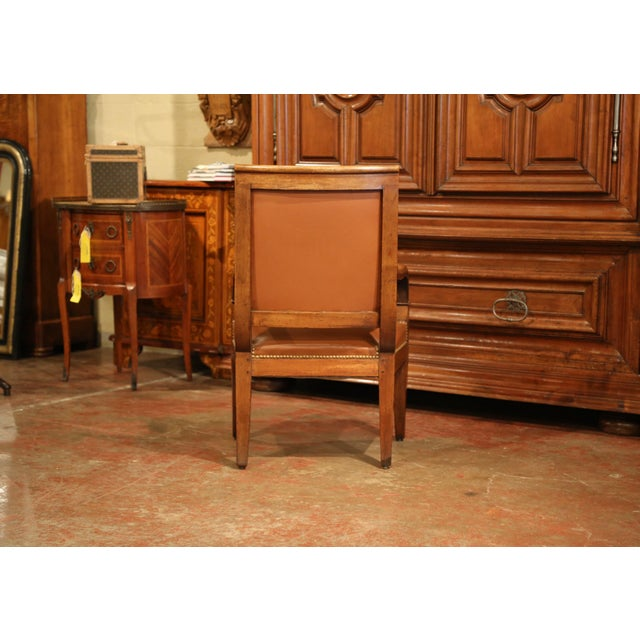 Gold 19th Century French Directoire Carved Walnut Desk Armchair With Brown Leather For Sale - Image 8 of 9
