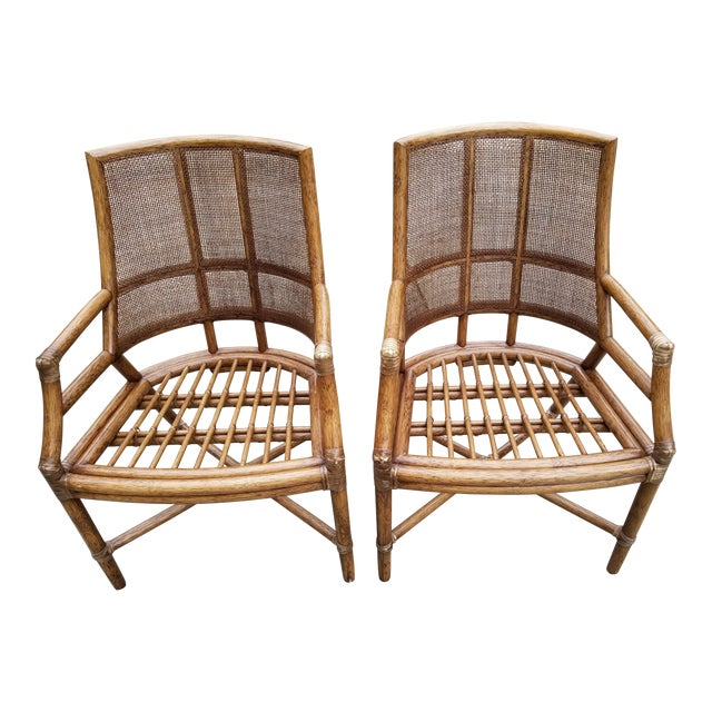 McGuire Rattan Cane Lounge Arm Chairs - a Pair - Image 1 of 8