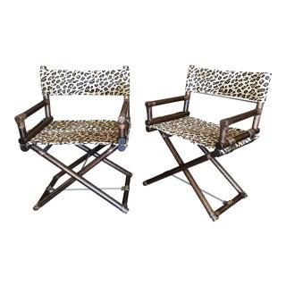 1960s Mid-Century Modern McGuire Animal Print Campaign Chairs - a Pair