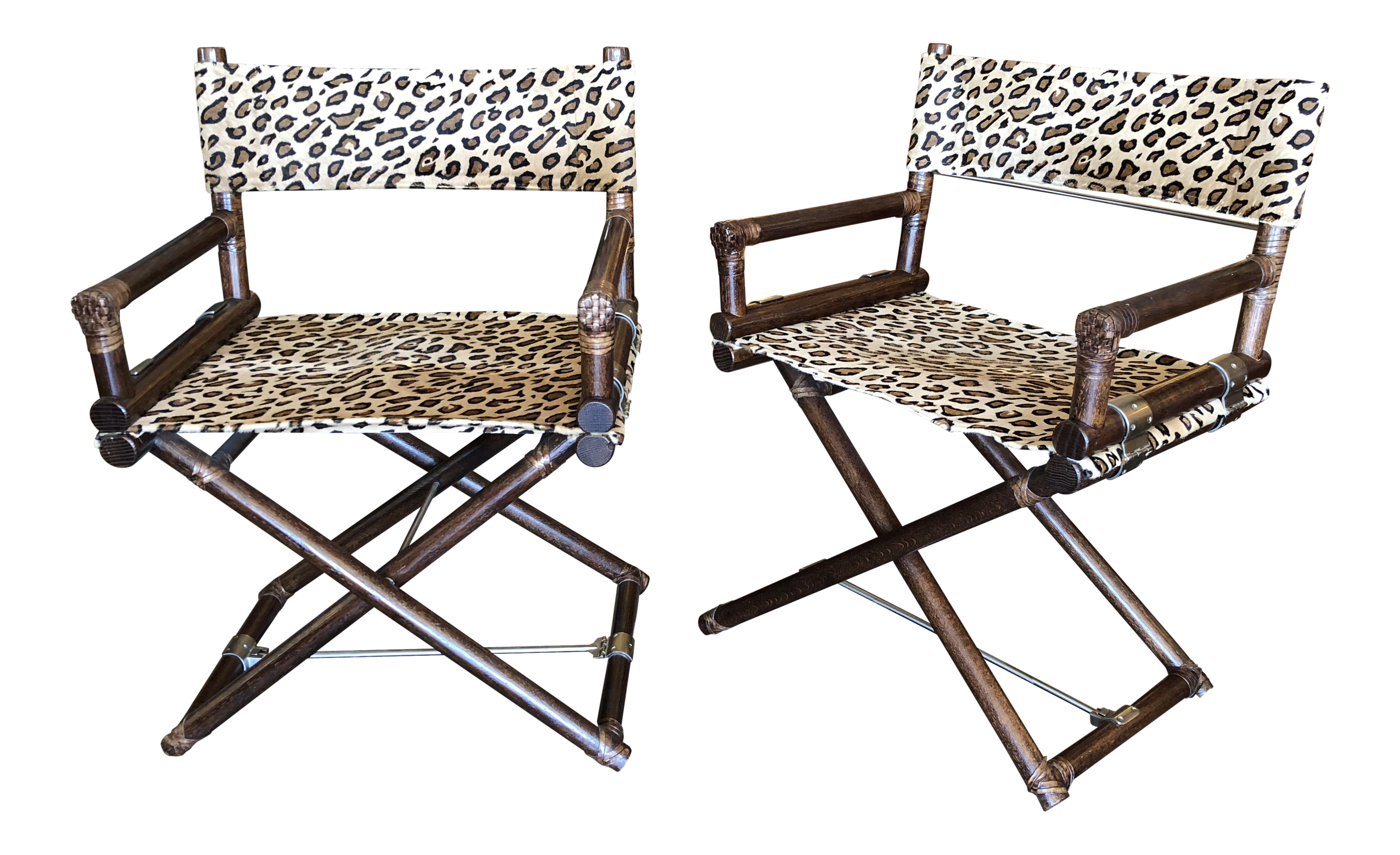 1960s Mid Century Modern McGuire Animal Print Campaign Chairs   A Pair
