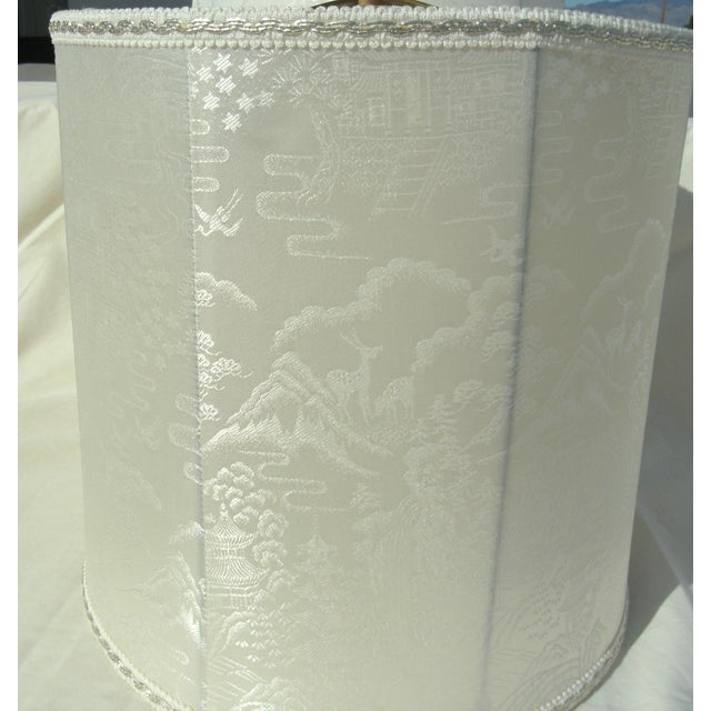 Vintage Asian Landscape Motif Fabric Lamp Shades - a Pair For Sale In Las Vegas - Image 6 of 8