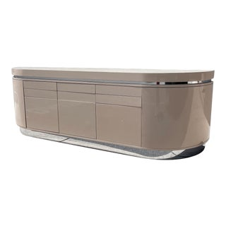 Modernist Taupe Laminate Lacquered and Chrome Credenza For Sale