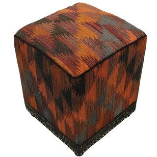 Boho Chic Camp Orange/Rust Handmade Kilim Upholstered Ottoman For Sale