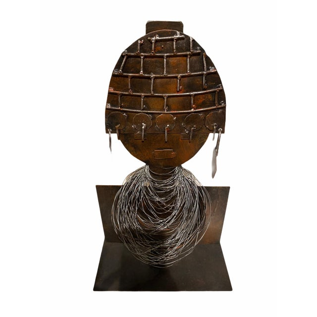 Figurative Late 20th Century Modernist Style African Queen Metal Sculpture For Sale - Image 3 of 11