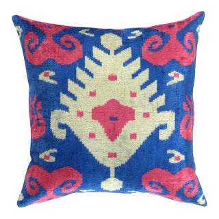 Turkish Hand Woven Silk Velvet Pillow 20'' #Ti 292 For Sale
