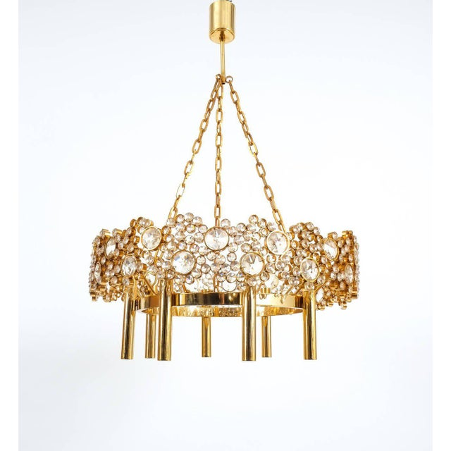 Palwa Large Gilt Brass and Glass Chandelier Lamp, Palwa circa 1960 For Sale - Image 4 of 8
