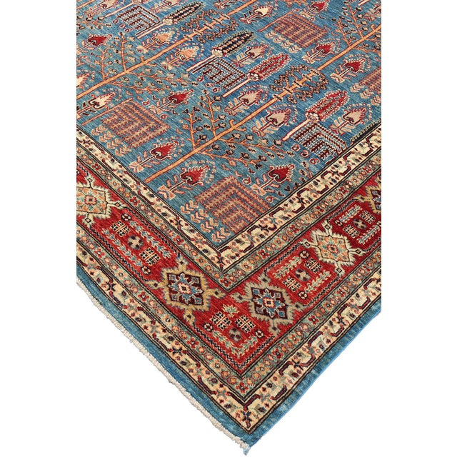 Traditional Bijar Design Blue Multi Color Hand-Knotted Wool Rug - 8′ × 9′ - Image 5 of 6