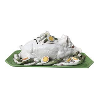 Oversized Majolica Pig Tureen With Asparagus