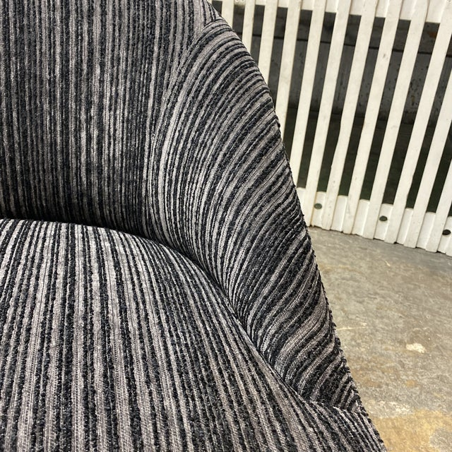 Charcoal Brand New Lee Industries Swivel Chairs + Charcoal Larsen Fabric - a Pair For Sale - Image 8 of 10