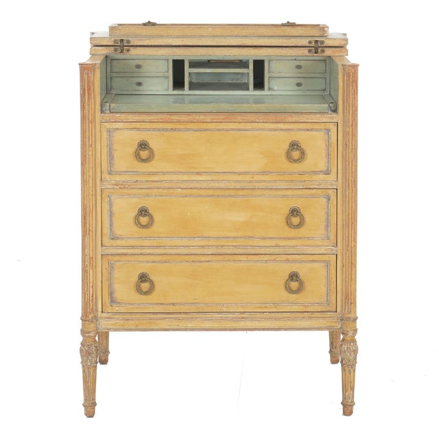 Circa 1940s French Louis XVI Style Antique Painted Desk Over Chest of Drawers For Sale - Image 13 of 13