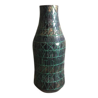 Bitossi for Raymor Incised Ceramic Vase For Sale